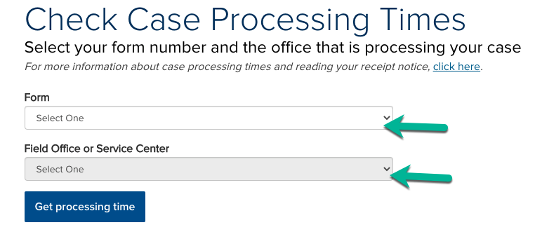 Check USCIS processing times Screen