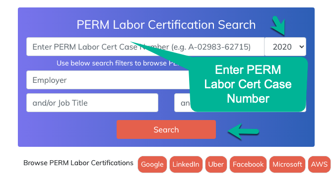 Enter Labor Cert Case Number, Select year,  Hit Search